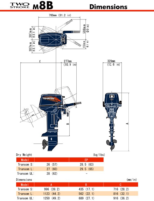 мотор tohatsu m8b s